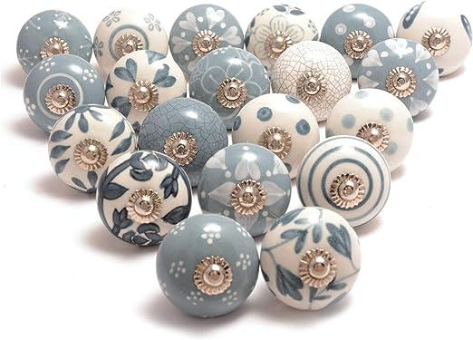 Chrome Set//2 Ceramic Cabinet Knobs Vintage Kitchen Pulls or Drawer Handles