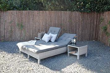 Wunderbar Lifestyle4living Gartenliege Aus Polyrattan Geflecht Grau, Verstellbar  Inkl. Auflage. Die Klappbare Doppelliege Ist