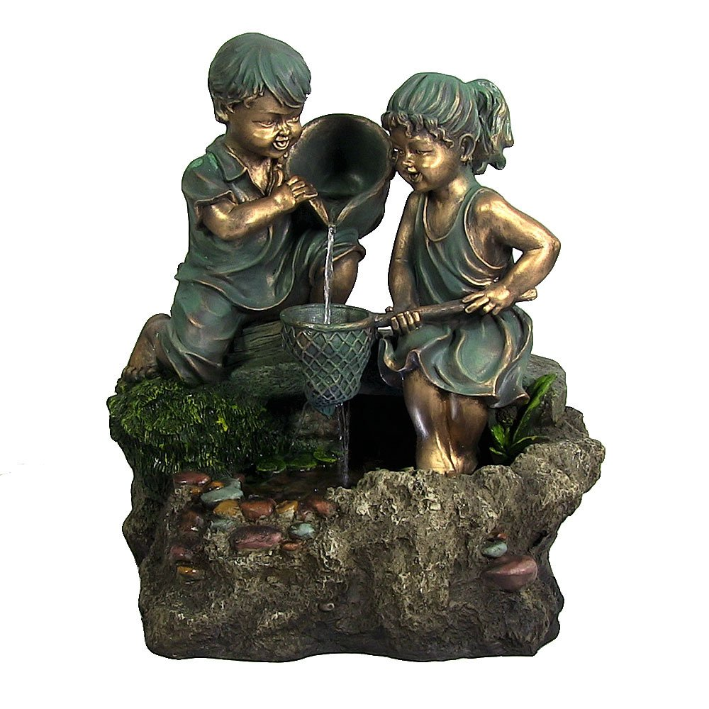Boy & Girl Playing in Water Outdoor Fountain with LED Light by Sunnydaze Decor by Sunnydaze Decor