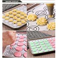 Lixada Macaron Silicone Baking Mat 260 * 600mm 10.24 * 23.62inch Half Sheet Mat with Circles Fine Mesh Non-Stick Baking Half Sheet for Macaron Pastry Pie Cookie