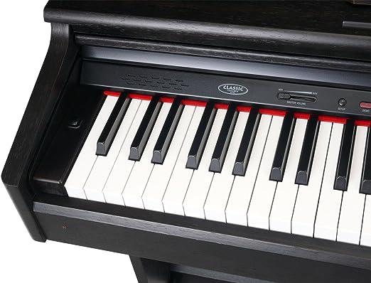 Classic Cantabile DP – 90 + RH Piano digital Rose Madera (88 teclas, 3 pedales, 15 Sonido, función de grabación, MIDI, USB)