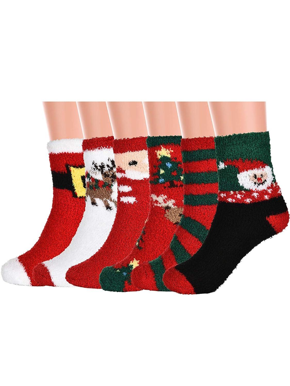 6 Paia Natale Calzini Coperto di Peluria da Donne Peluche Pantofola Calzini Caldo Microfibra Calze per Casa Indossare Vacanza Festa Regali