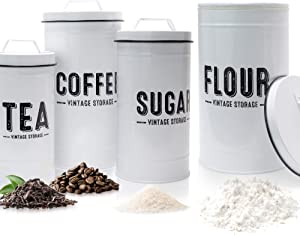 Aesthethic Farmhouse Kitchen Canister Set For Kitchen Counter - Set of 4 Airtight Flour, Sugar, Coffee And Tea Containers Look Fabulous on Your Kitchen Countertop