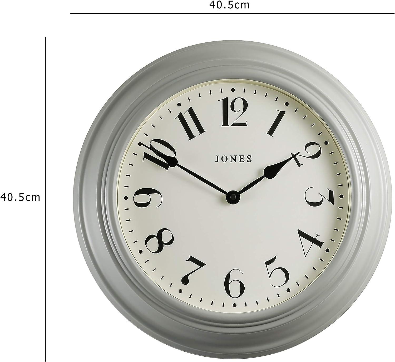 Jones Clock®, Reloj de Pared de cóctel Grande Diseño clásico Tradicional y una Caja de Color con Hermosos números árabes de 40 cm. (Gris/Números Grandes): Amazon.es: Hogar