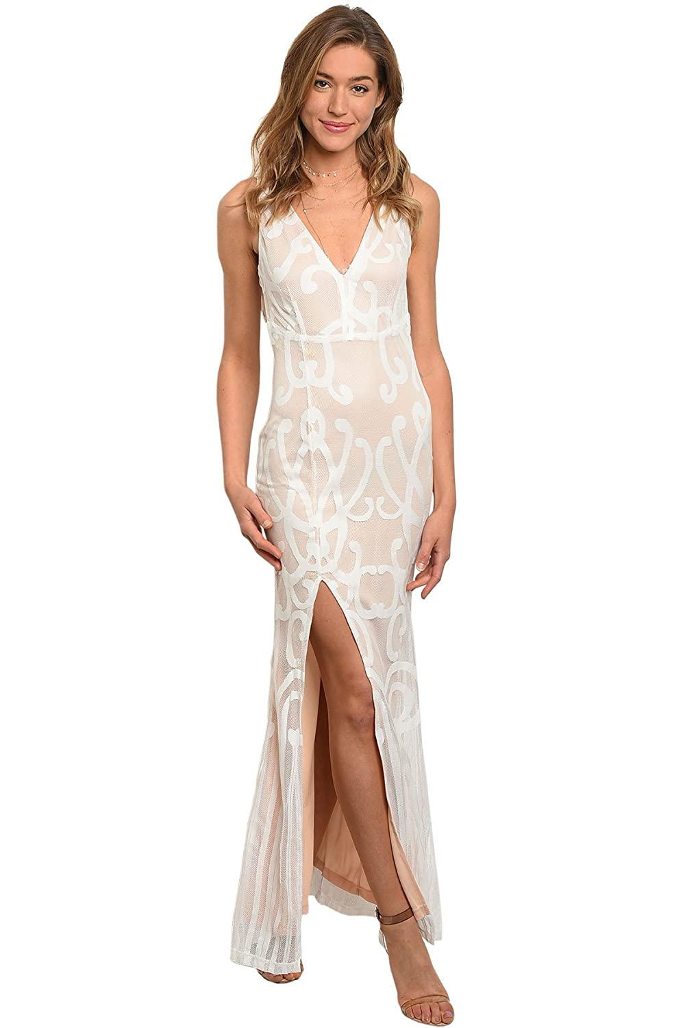 7addc9ac6d Amazon.com  Gorgeous Elegant Ivory White Lace Nude Cocktail Formal Gown  Open Back Front Thigh Slit  Clothing