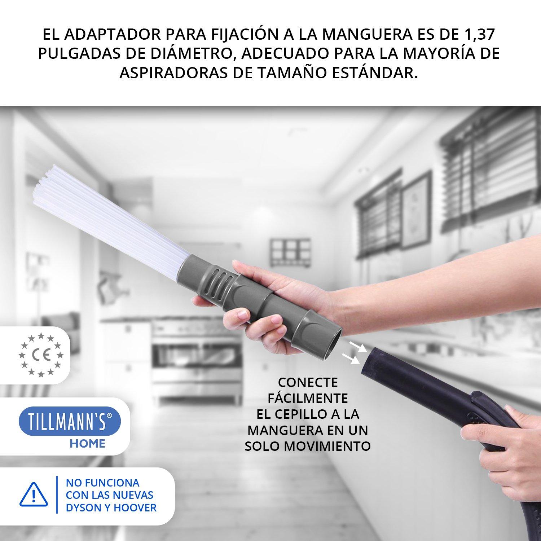 Tillmann's® Cepillo Polvo Aspiradora Universal | Cepillo Aspiradora Universal Ideal Para Limpieza Ductos Ventilación – Rejillas – Ranuras – Teclados Y Más | Adaptable A Cualquier Aspirador