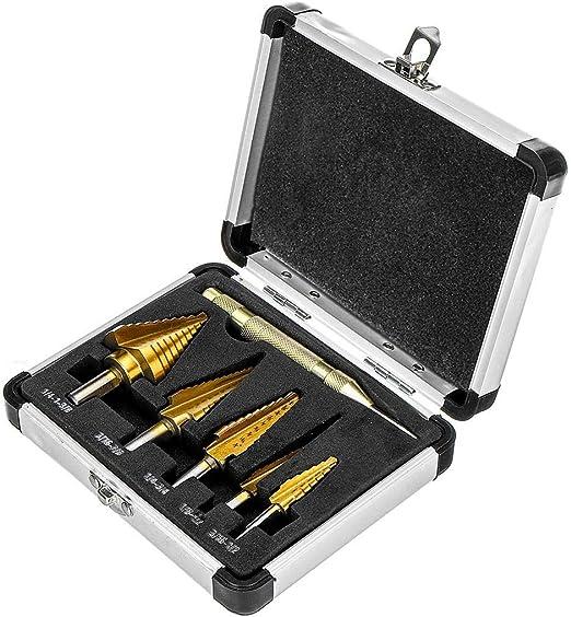 LHQ-HQ 6pcs Titanium Coated Step Drill Bit Quick Change Bits Set