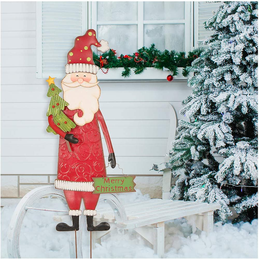 """Glitzhome Santa Garden Stakes, Metal Garden Santa Sign Christmas Ornaments Yard Stakes Lawn Patio Decor for Outdoor Stake Indoor Standing Decorations 36"""" H"""