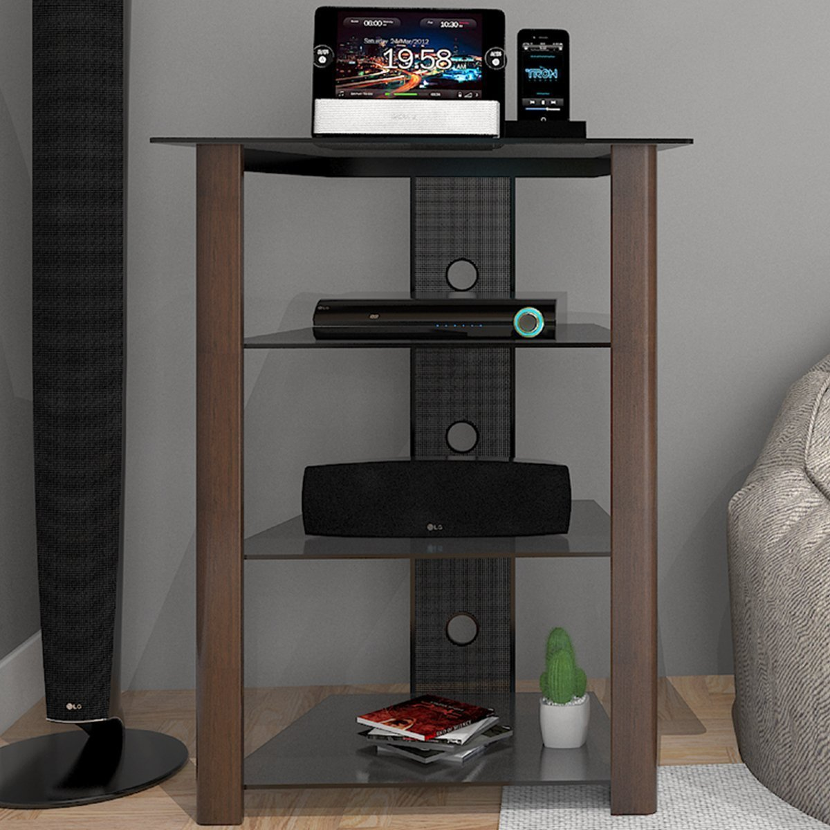 Ryan Rove Ashton Multi-Level Component Stand in Wood Espresso with Cable Management System by Ryan Rove