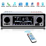 Car Stereo for Bluetooth, Single Din, Hands-Free Calling FM Radio Receiver, USB/SD/AUX Port, Support MP3/WMA/WAV, Dual Knob Audio Car Radio Player, Built-in Microphone, Wireless Remote Control