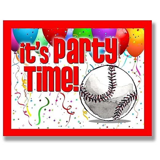 Invitaciones de fiesta de béisbol (rojo, 4,25