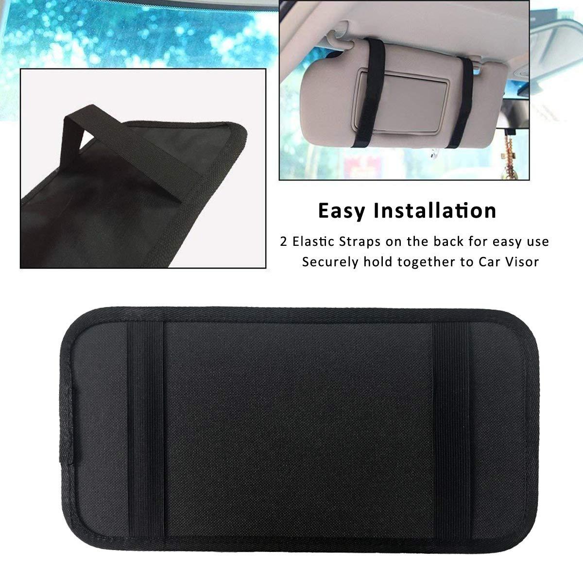 Black Auto Visor Holder Interior Accessories Pocket Organizer Car Registration Holder Document Storage Pouch Pen Holder ZugGear Car Sun Visor Organizer