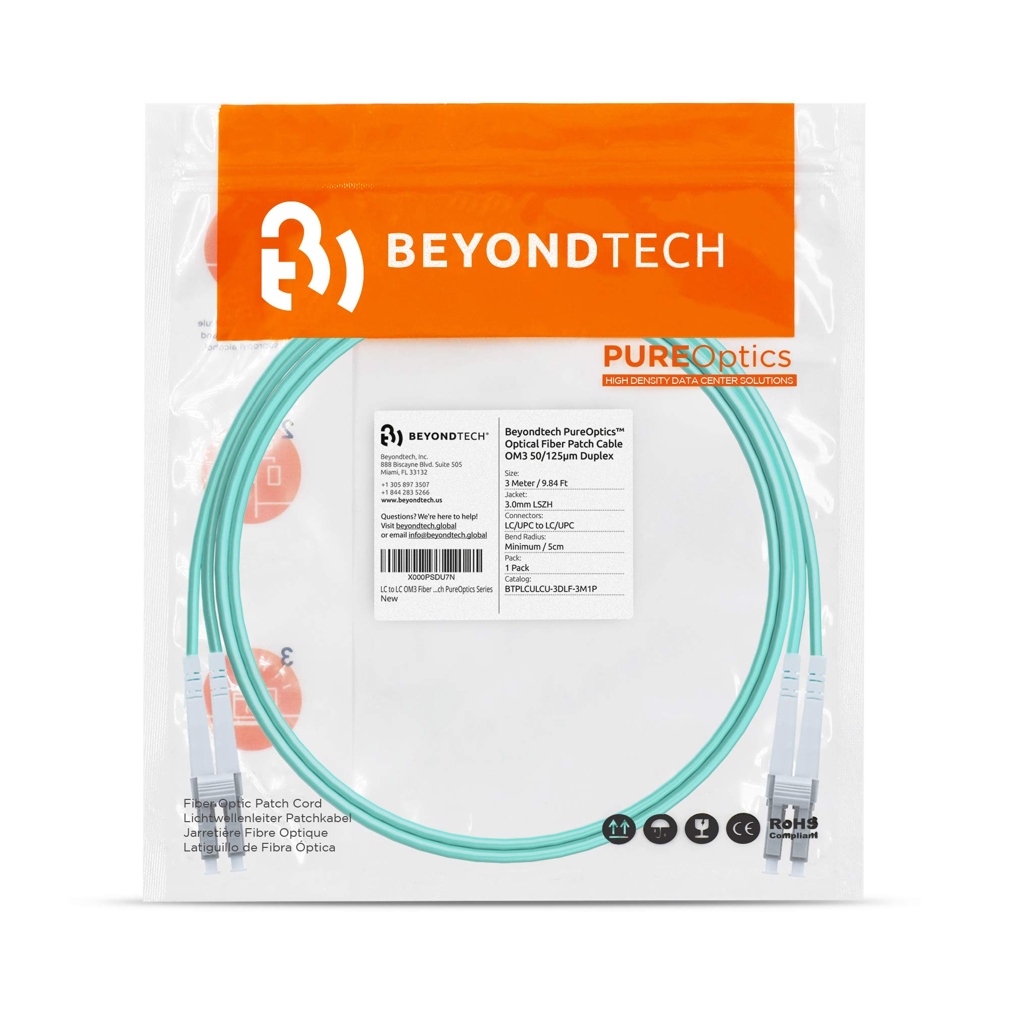 LC to LC Fiber Patch Cable Single Mode Duplex 5 Pack 3.28ft - Beyondtech PureOptics Cable Series 1m - 9//125um OS1