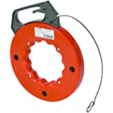 """Electrical Fish Tape Reel - 50 Feet Reach - Impact Case for Electricians, Pull Communication Wire Cable Line From Drywall, Ceiling, Under Rug Conduit or Pipe- 1/2"""" W x 1/16"""" Thickl - By Katzco"""