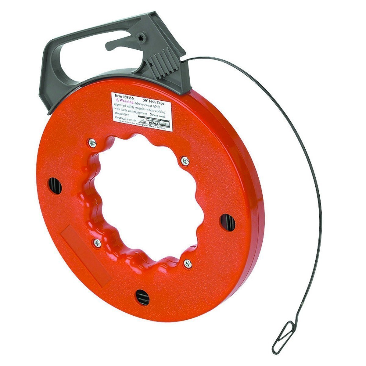 """Electrical Fish Tape Reel - 50 Foot Reach - Impact Case for Electricians, Pull Communication Wire Cable Line From Drywall, Ceiling, Under Rug Conduit or Pipe- 1/2"""" W x 1/16"""" Thick Tape Reel By Katzco Kayco USA CECOMINOD071489"""