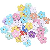 TENDYCOCO 50 Pcs 2cm 2 Holes Wooden Buttons for Craft Colorful Flowers DIY Buttons for Baby Sweater Sewing Craft (Random…