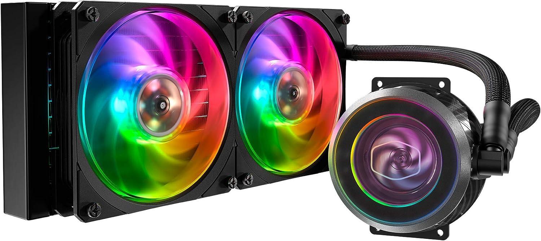Cooler Master MasterLiquid ML240P Mirage Addressable RGB Close-Loop AIO CPU Liquid Cooler, Transparent Pump, Dual MF120 Fans, Independently-Controlled ARGB LEDS for AMD Ryzen, Threadripper/Intel 1151
