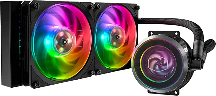 Cooler Master MasterLiquid ML240P Mirage Addressable RGB Close-Loop AIO CPU Liquid Cooler, Transparent Pump, Dual MF120 Fans, Independently-Controlled ARGB LEDS for AMD Ryzen, Threadripper/Intel 1151