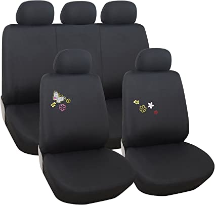 60//40 Rear Split Seat Yupbizauto Black Flat Cloth with Embroidery Butterfly Logo Front and Rear Car Seat Covers Support 50//50