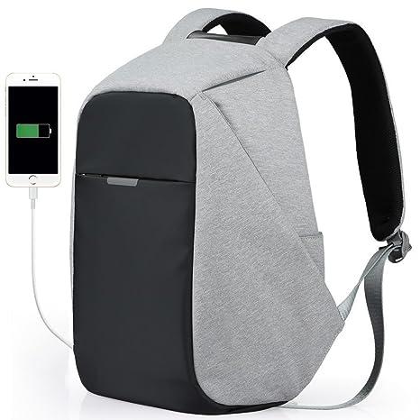 Mochila para estudiantes, Mochila de carga USB Mochila antirrobo de viaje Mochila impermeable para computadora