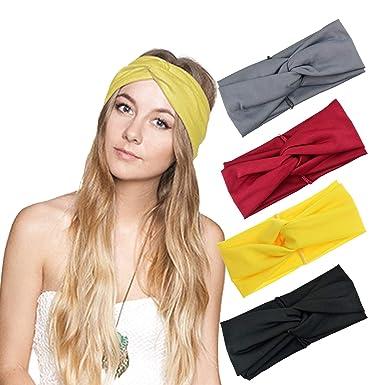 DRESHOW 4 Pack Headbands Vintage Elastic Printed Head Wrap Stretchy Moisture