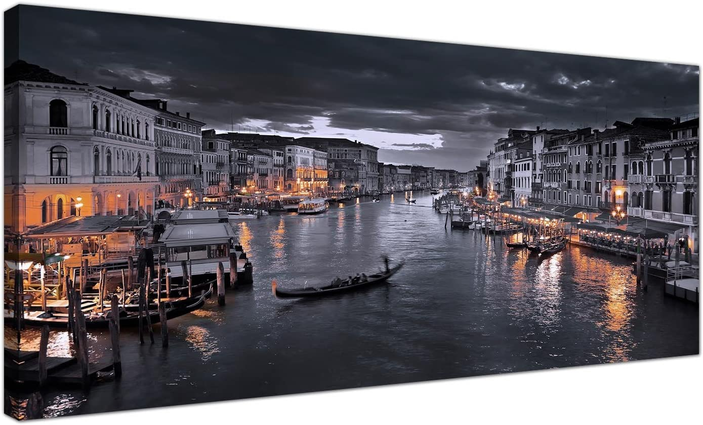 Wallfillers Black And White Venice Grand Canal Italy Modern Landscape Canvas 120cm Wide 1229 Amazon Co Uk Kitchen Home