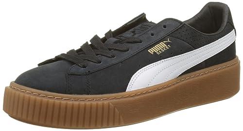 5dd2facd8addcb Puma Damen Basket Platform Perf Gum Sneaker Schwarz Black-White-Gold