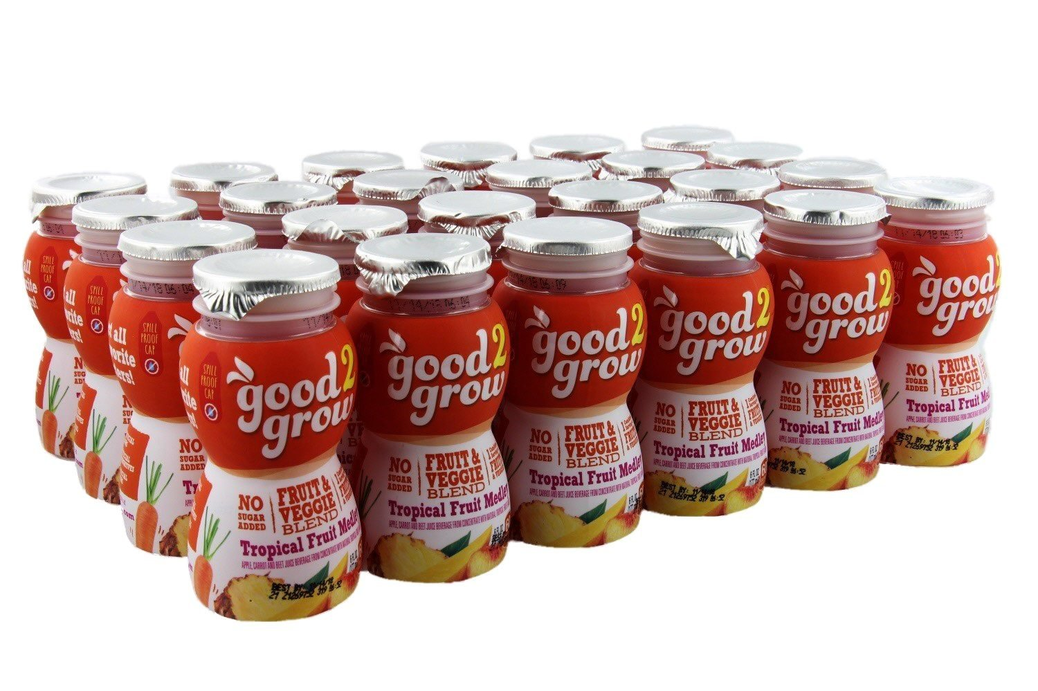 good2grow Tropical Fruit Medley Juice Bottles, 6-Ounce Good2grow Refills, 24 Pack - 22% Less Sugar Than 100% Juice, non-GMO, BPA-Free, Good Vitamin C Source - Use with Spill-Proof Good2grow Toppers by good2grow