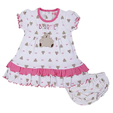c0f6906faa7cf WONDERCHILD Half Sleeve Off White & Pink Printed Frock with Panty for New  Born Baby Upto
