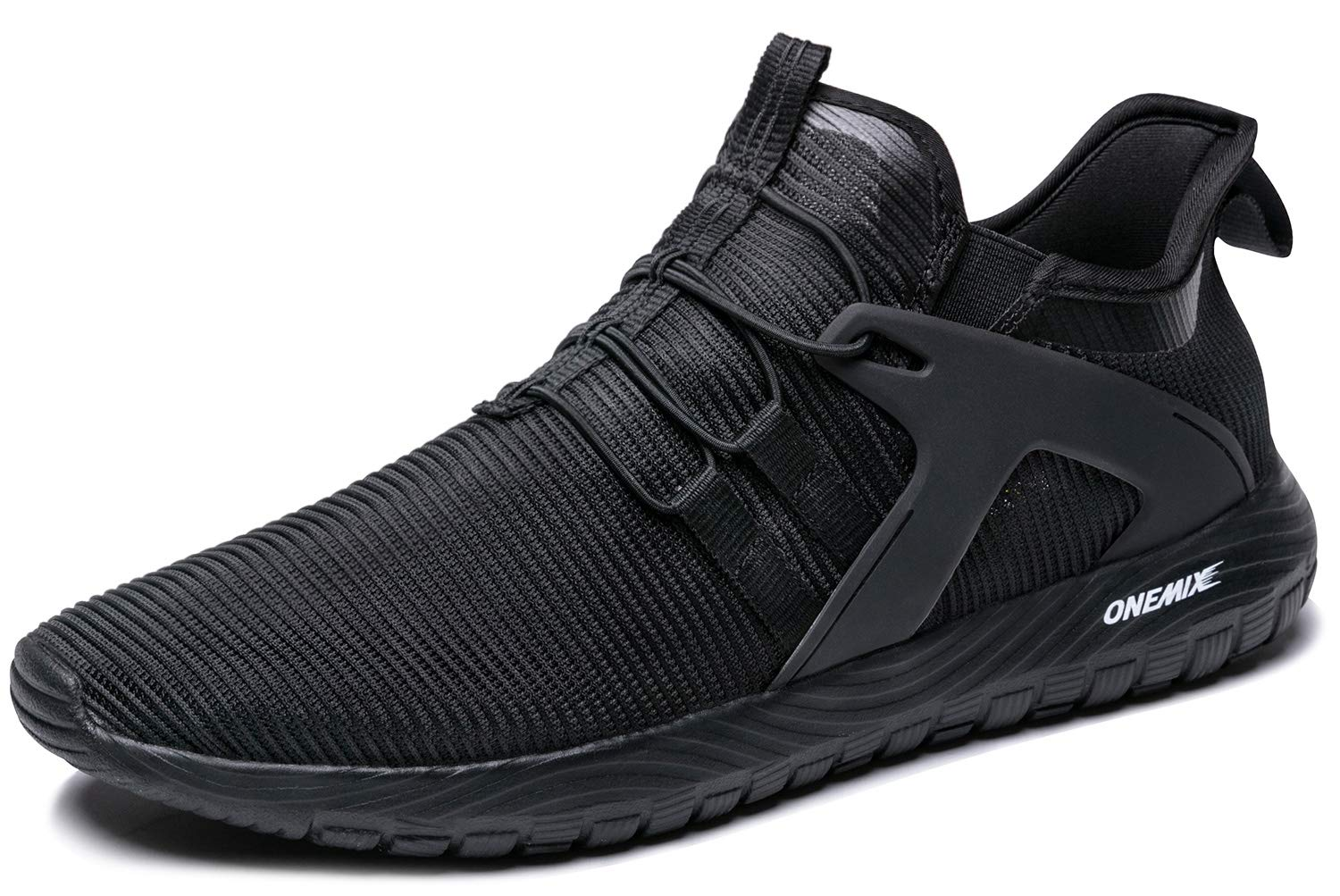 ONEMIX Mens Running Shoes Cushioning Sneakers Lightweight Casual Sports Slip-On Black 10.5