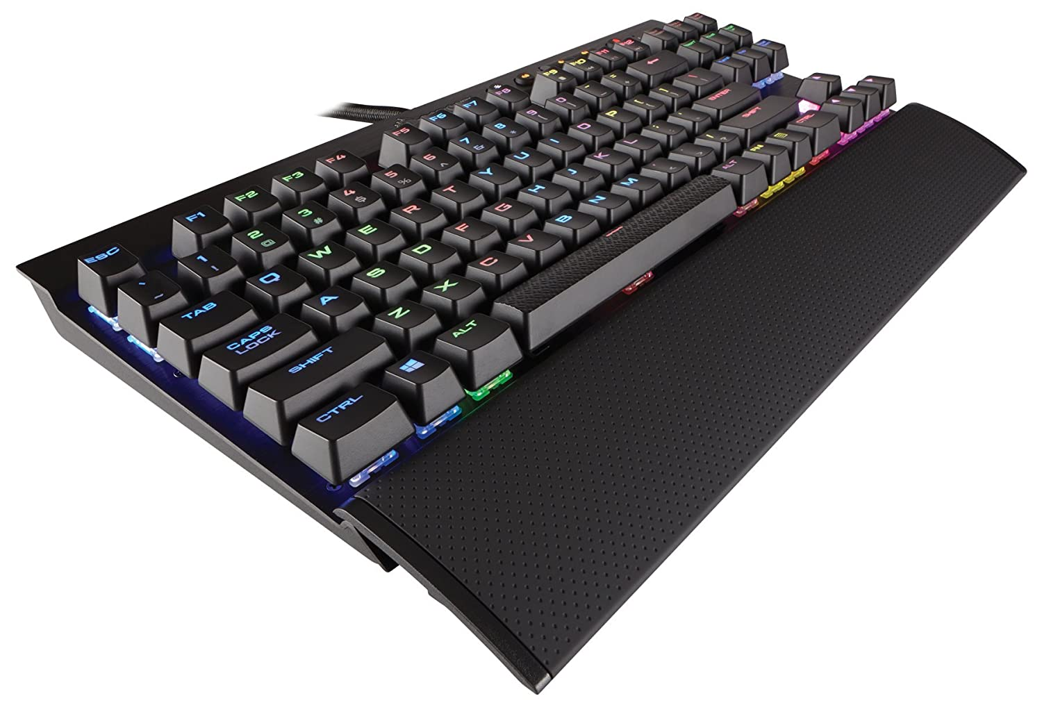 CORSAIR K65 LUX RGB Compact Mechanical Keyboard – USB Passthrough Media Controls – Linear Quiet – Cherry MX Red – RGB LED Backlit