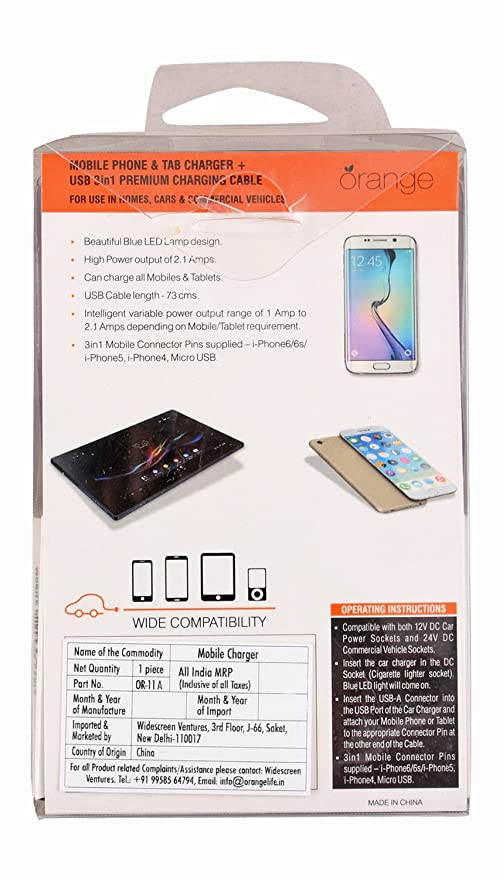 Orange OR 11A 3 in 1 Mobile Phone and Tab Charger for Car