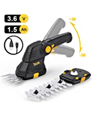 TECCPO Forbici a Batteria al Litio, 3.6V Sfoltirami Cesoie 1.5Ah, USB Carica, Larghezza di Taglio 70mm, Lunghezza di Taglio 115mm, Maniglia Rotante, Ideale per Il Giardino - TDGS01G