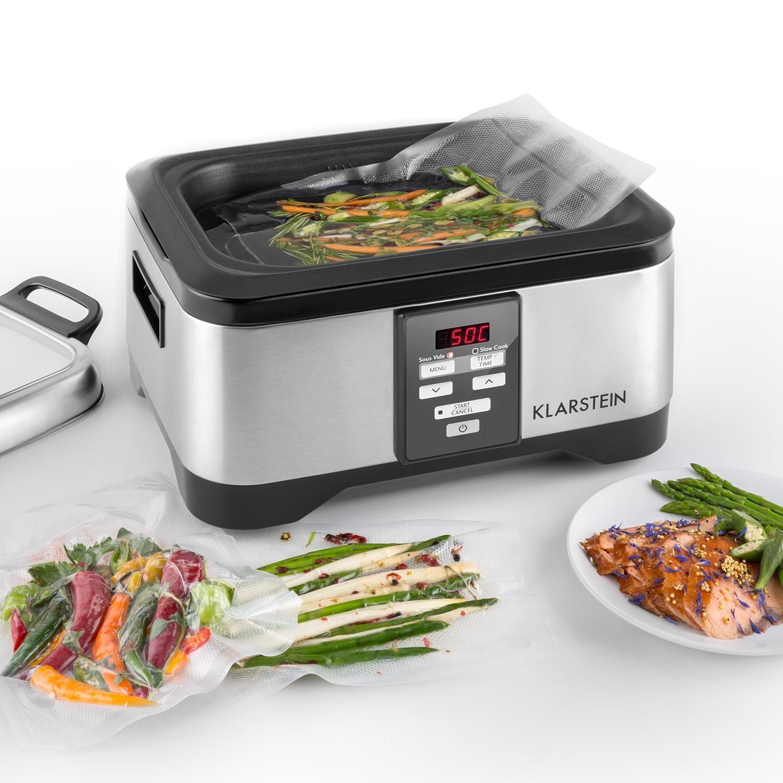 Klarstein Tastemaker Olla de cocción al vacío (6 Litros con tapa, Tiempo 1-24 h, Sous-vide lenta 550 W, 40-90 ° C, acero inox.) plateado: Amazon.es: Hogar