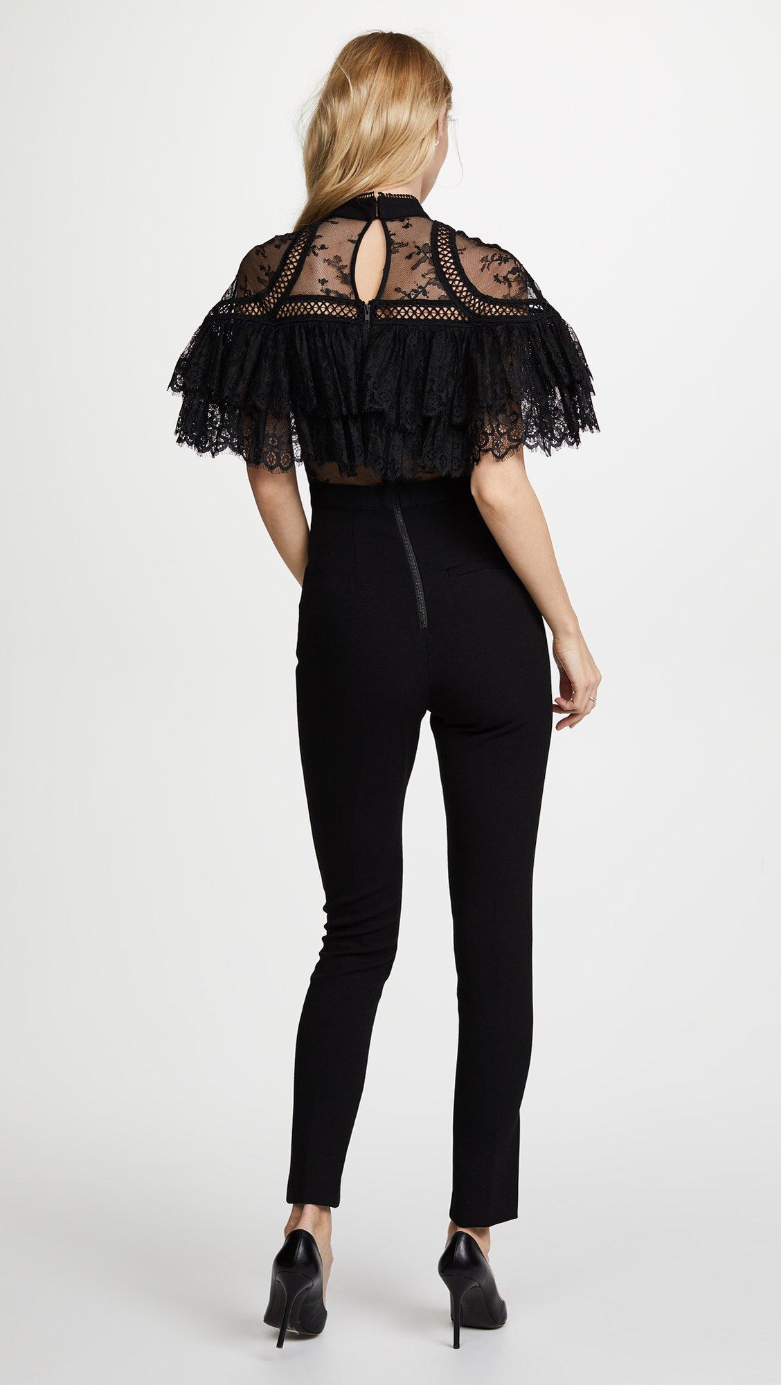 Self Portrait Women's Fine Lace Paneled Jumpsuit, Black, 8 by Self Portrait (Image #3)