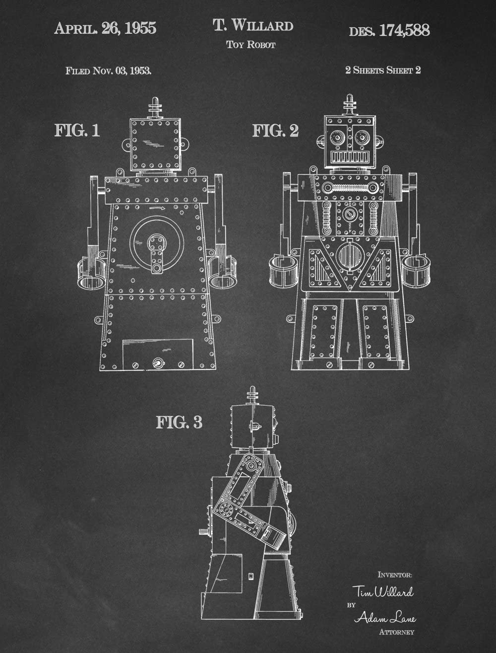 JP London Heavyweight Prepasted Jetsons Rosie Robot Removable Vintage Chalkboard Patent Art at 4ft by 3ft PMURJSCLT08, 4' x 3'