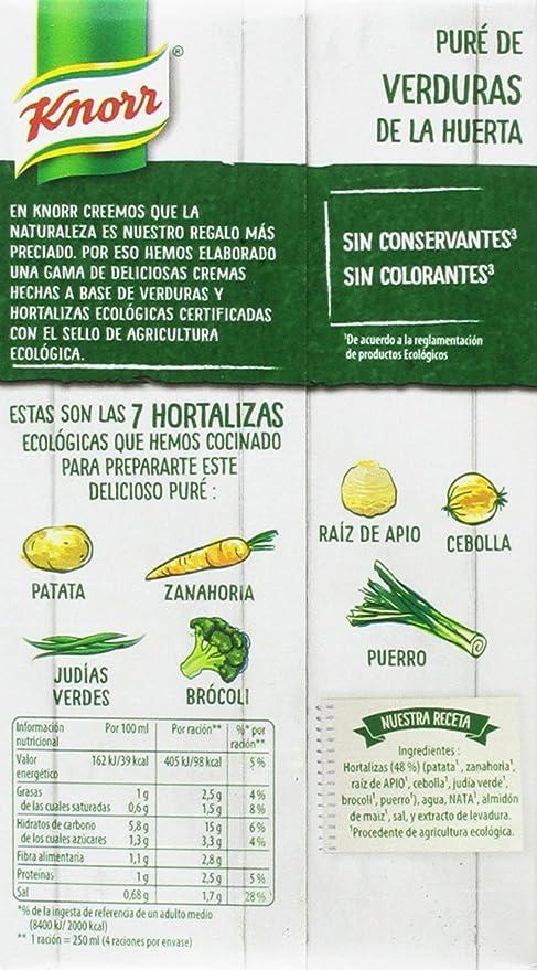 Knorr Eco Puré de Verduras de la Huerta - Paquete de 8 x 1 L - Total: 8 L