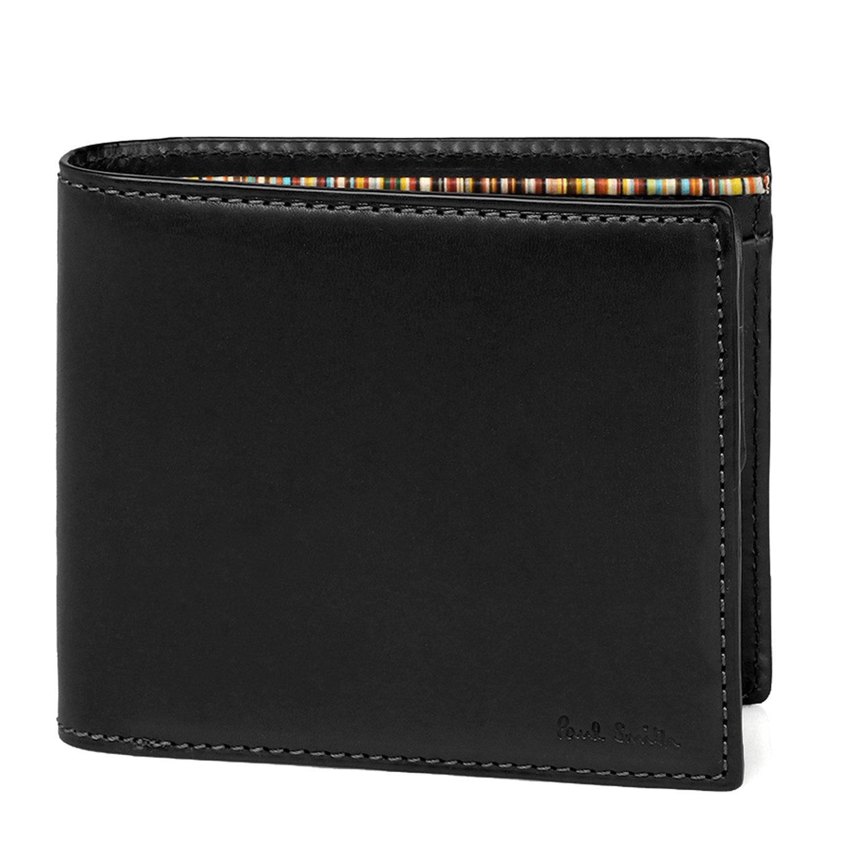 [名入れ可] (ポールスミス) Paul Smith オールドレザー ウォレット 本革 二つ折り財布 873215 P485 ショップバッグ付 B0761PD6P4  ブラック 名入れなし