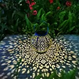 Solar Large Lantern Outdoor Hanging Lights Metal Decorative Garden Lights Waterproof Table Lamp for Patio, Courtyard…