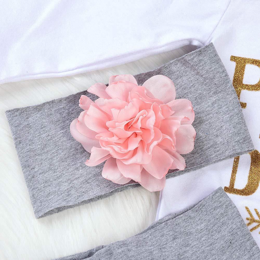 Newborn Baby Girl Jumpsuit Letter Romper Long Sleeve Bodysuit+Floral Pants+Hat+Headbands 4Pcs Winter Clothes Outfits