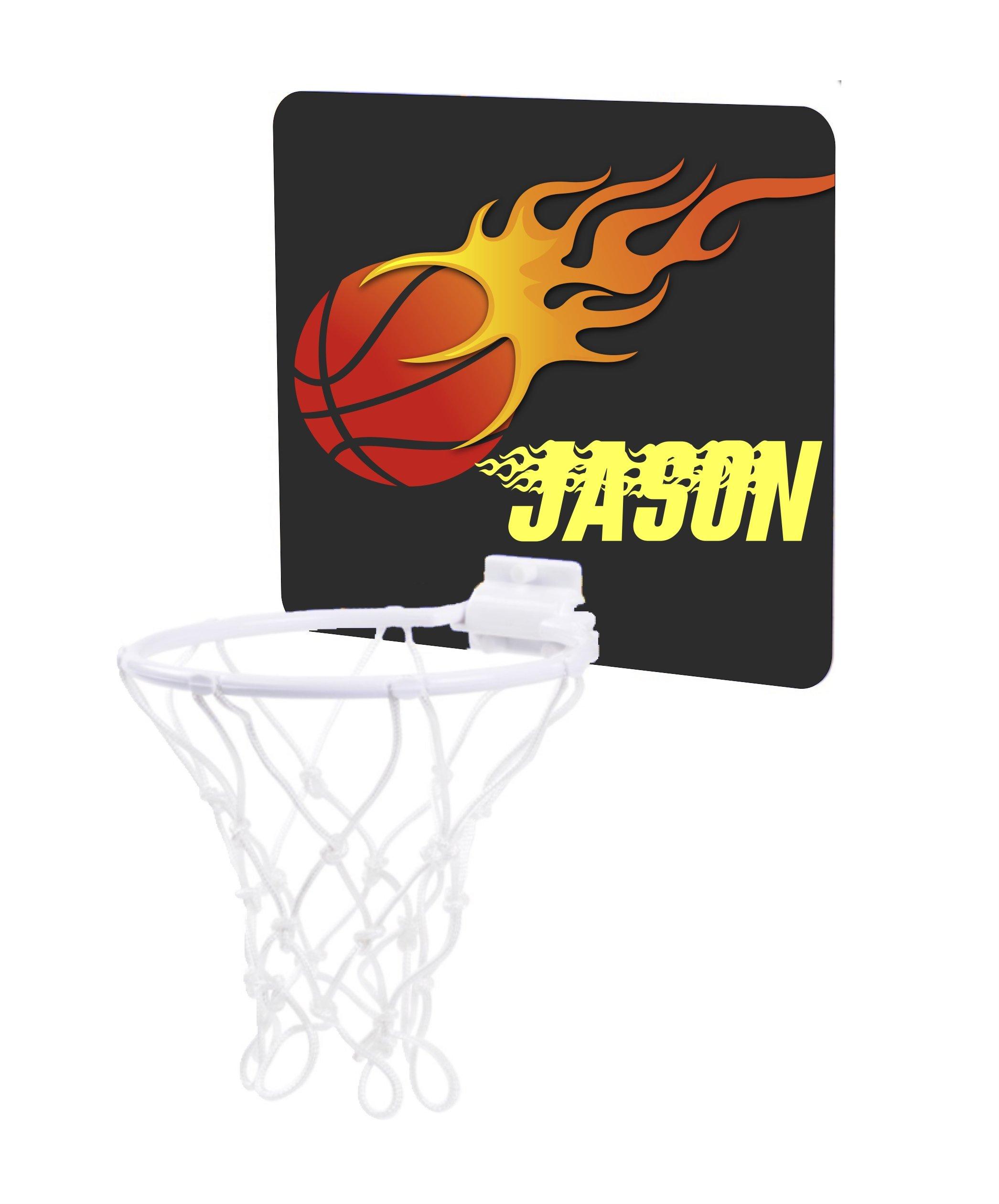 Jacks Outlet Flaming Basketball Design - Custom Unisex Childrens 7.5'' x 9'' Mini Basketball Backboard - Goal with 6'' Hoop