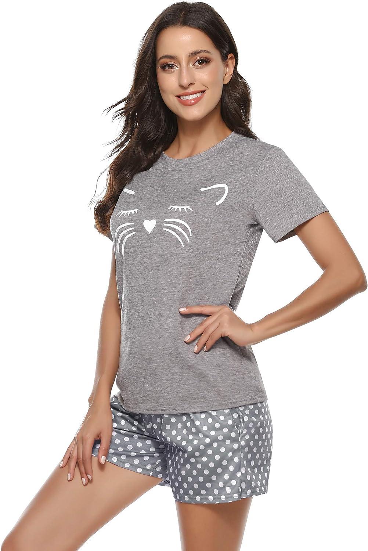 Aibrou Gato Pijama Verano Mujer Corto Algod/ón Suave Comodo Ligero y Agradable Ropa para Dormir Set