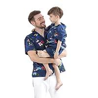 Matching Father Son Hawaiian Luau Outfit Christmas Men Shirt Boy Shirt Shorts Navy Santa Flamingo