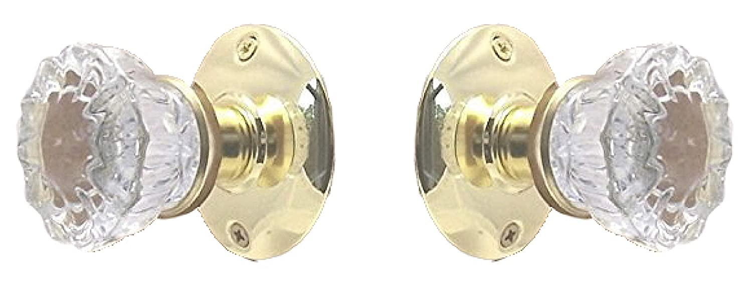 Two Fluted Crystal Glass FRENCH DOOR Dummy Knob set for ONE SIDE OF TWO DOORS Door Knobs & Handles