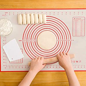 Silicone Baking Mat, Non-Stick Food Grade Silicone Pastry Mat Extra Large with Measurements for Baking -Dough Rolling Mat,Heat-Resistance Oven Liner,Fondant Mat,Pie Crust Mat (23.6 x 15.7 Inch)