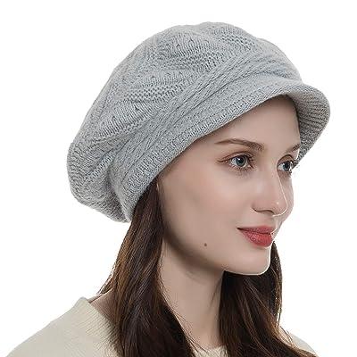 Diravo Womens Beanie Warm Winter Knitted Hat Slouchy Wool Ski Cap Beanie Visor Grey at Amazon Women's Clothing store