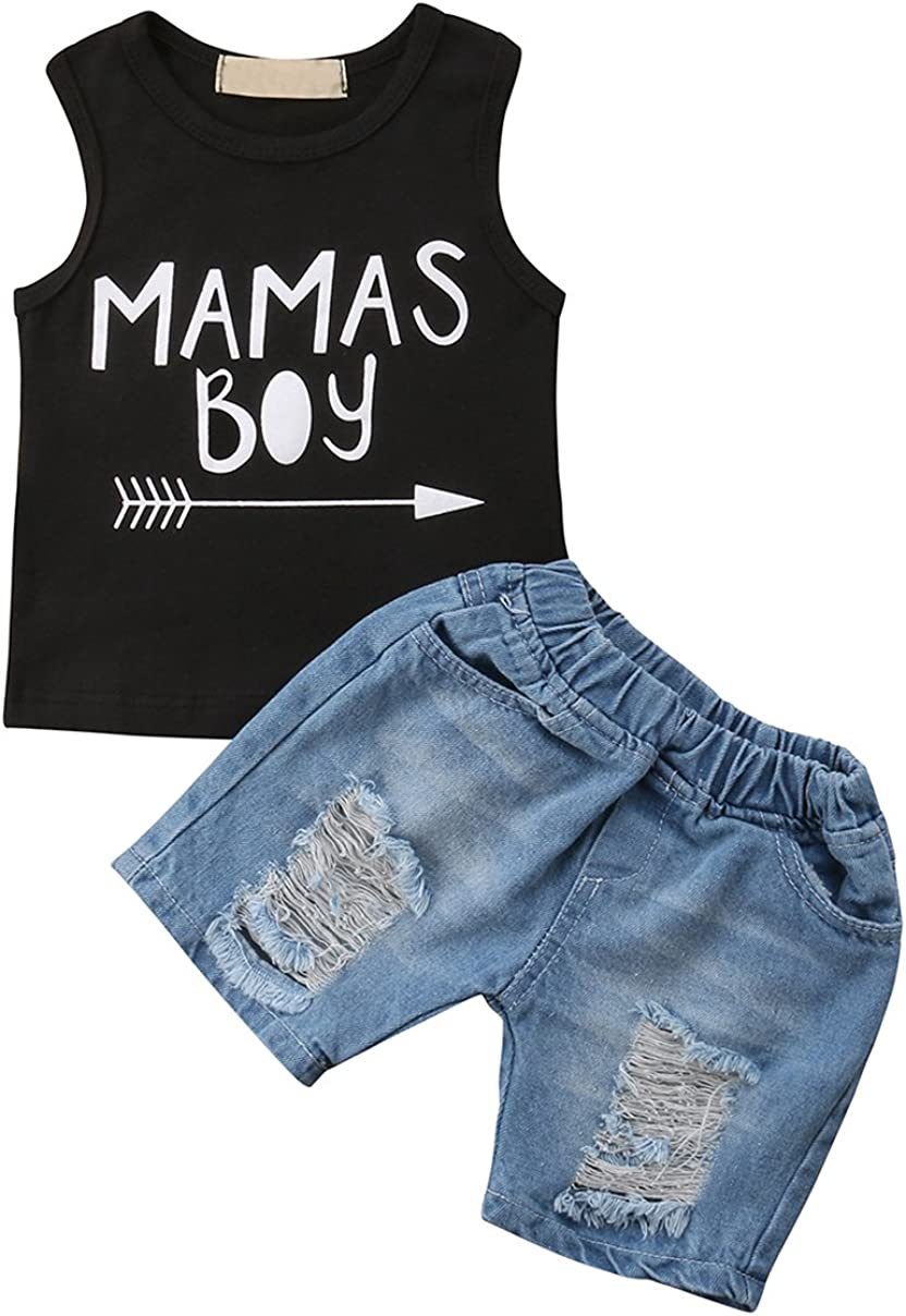 MUNIMINI Mamas Boy Toddler Boys Sleeveless Tank Vest Top and Ripped Jeans Short Outfit