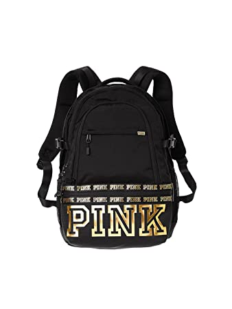 caa7939bc1cf Image Unavailable. Image not available for. Color  Victorias Secret Pink  Campus Backpack Black Gold Logo