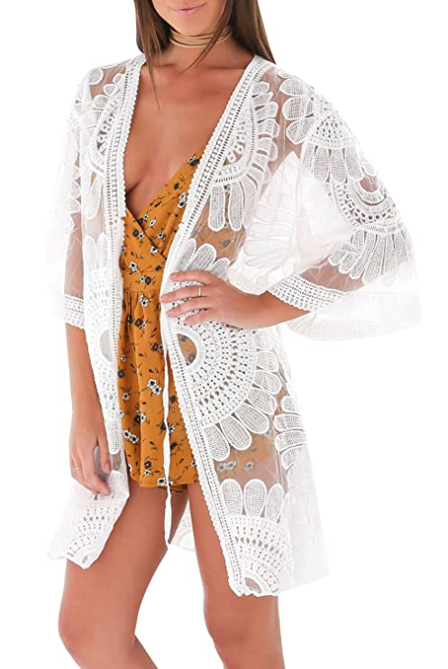 a4f6cc1e13 Image Unavailable. Image not available for. Color: Wantook Womens White Lace  Crochet Floral Cardigan Swimwear Bikini Cover Up Beach ...