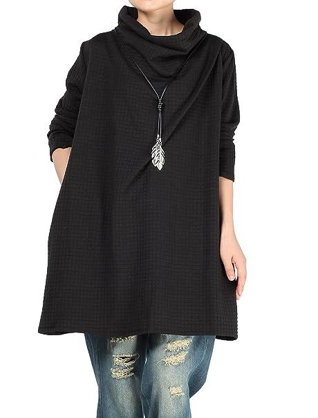 Vogstyle Mujer Pila Sudaderas Blusas Irregulares Negro XL